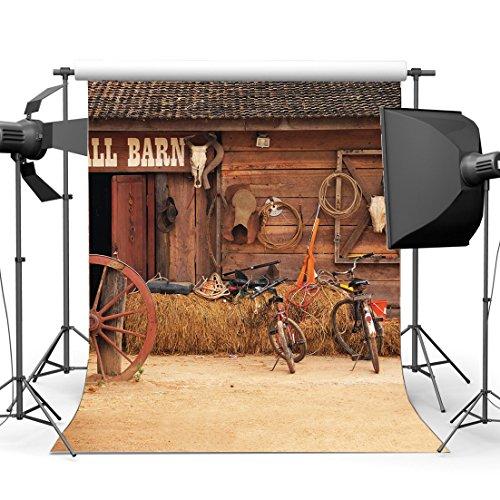 (Sunny Star 5x 2,1Rustikal Landwirtschaft, Old Barn Hintergrund West Cowboy Vintage Rad Stroh Heu Ballen Farm Werkzeug Grunge Fahrrad Holz Plank Haus vinyl Fotografie Hintergrund Kinder Erwachsene Foto Studio Requisiten CA1032)