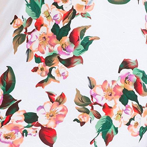Vertvie Femme Été Manches Courtes Bohème Sling Robe de Plage Imprimée Floral Jumpsuit Décolleté Off-épaule Taille Haute pour Soirée Party Blanc