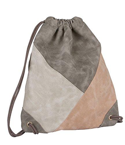SIX-Trend-Damen-Rucksack-Turnbeutel-aus-Kunstleder-in-Grau-Beige-und-Ros-Nude-463-776