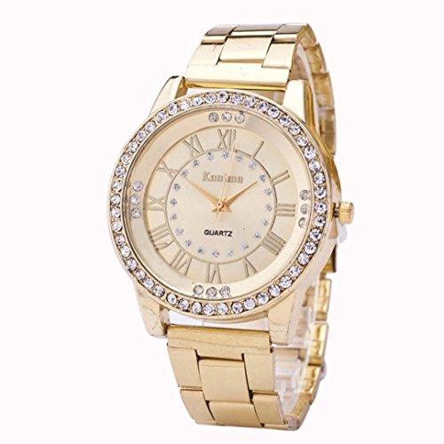 Montre en acier inoxydable,Femmes hommes cristal strass en acier inoxydable bracelets de quartz analogiques montres by LHWY (Or)