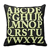 Bags-Online Home Decorative Green and White Houndstooths English Alphabet Pillowcase Cushion Cover Awesome Throw Pillow Cover Square 18X18 inch