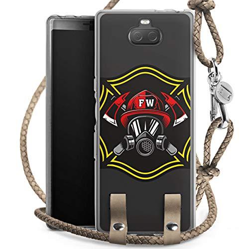 DeinDesign Carry Case kompatibel mit Sony Xperia 10 Handykette Handyhülle zum Umhängen Feuerwehrmann Rettungsdienst Feuerwehr