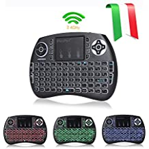 Joyhero QWERTY Wireless Mini Tastiera(layout ITALIANO) Retroilluminata e Mouse Touchpad Combinato per Android TV Box / PC / Xbox 360 / PS4 / smart TV ecc …