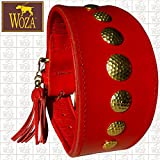Woza Premium WINDHUND Halsband 6,3/42CM Romulus Vollleder Rindleder Nappa Handmade Greyhound Collar GOLDFARBIG ROT