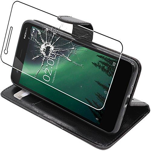ebestStar - Coque Nokia 2 [143.5 x 71.3 x 9.3mm, 5.0''] Etui PU Cuir Housse Portefeuille Porte-Cartes Support Stand, Noir + Film Protection écran Verre Trempé