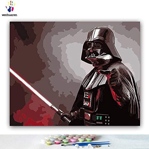 Malen nach Zahlen Kits Ölgemälde für Kinder, Studenten, Erwachsene, Anfänger mit Pinsel und Acryl-Pigment Star-Wars-Film-Charaktere Darth Vader Kylo Ren 16x20 no frame 21229