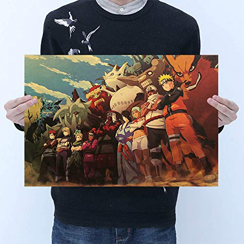 zhongjiany KRAWATTE LER Stil Vintage Cartoon Anime Naruto Poster Bar Für Kinderzimmer Wohnkultur Comics Naruto Retro Kraftpapier Malerei 50,5x35 cm(Style02)