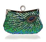 Baglamor Frauen Glänzende Pailletten Perlen Strass Pfau Stickerei Clutch Handtasche Handtasche Abendtasche