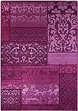 Kurzflorteppich Teppichläufer Orientteppich Vintage Patchwork Orientalisches Muster Used Look– Wohnzimmerteppich Schlafzimmer Flurläufer – Oeko Tex 100 pflegeleicht umkettelt – 80cm x 150cm lila