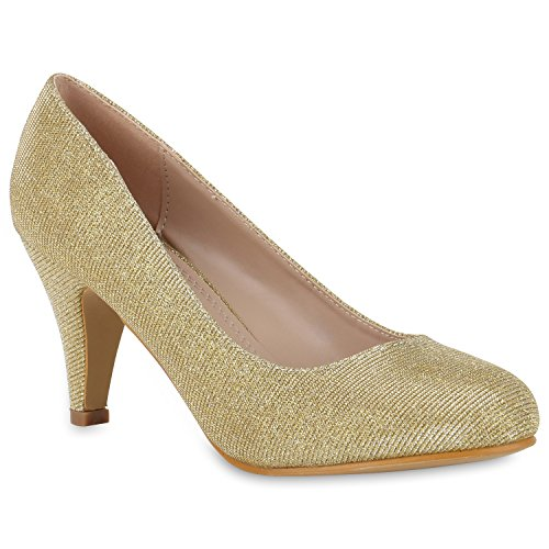 Klassische Damen Pumps | Stilettos Abendschuhe | Lederoptik Glitzer Metallic Lack | Schleifen Tanzschuhe Brautschuhe Gold Glitzer