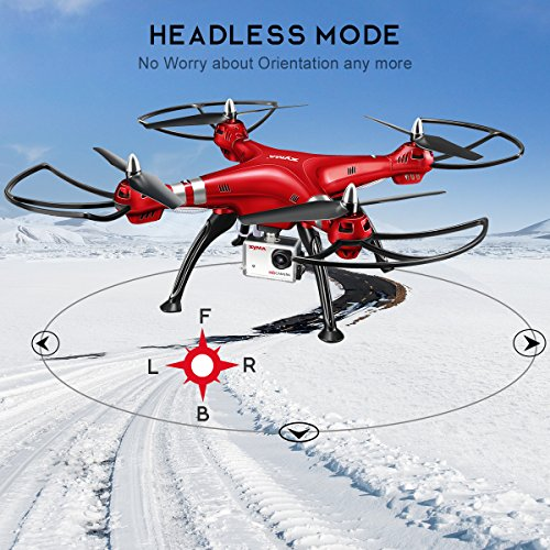 Syma X8HG (Upgrade Syma X8G) 2,4 GHz 6-Achsen-Gyro RC Ferngesteuerte Quadcopter Drone Quadrocopter Drohne mit 8MP HD-Kamera Einen Höhenstabilisator-Rote - 4