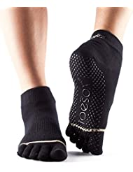 Toesox Full Toe Ankle Calcetines de Yoga, Unisex Adulto, Negro, L