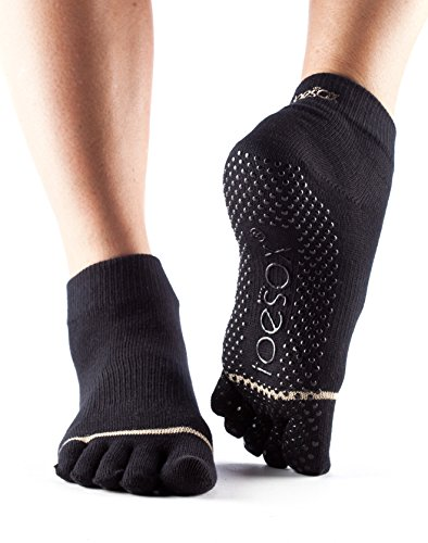 Toesox Full Toe Ankle Calcetines de Yoga, Unisex Adulto, Negro, L