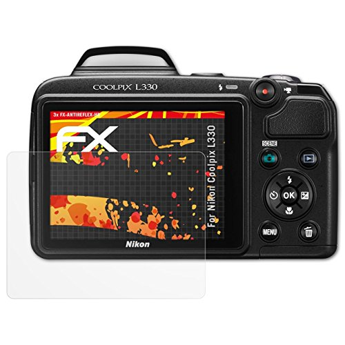 ikon Coolpix L330 Displayschutzfolie - 3 x FX-Antireflex-HD hochauflösende entspiegelnde Schutzfolie (Nikon Coolpix L330-kamera)