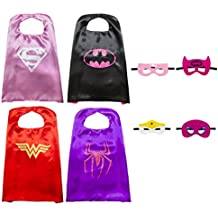 Kiddo Care Súper héroe Capes, Máscaras, Satén (Niñas) (4 juegos - Super Girl, Spider Girl, Bat Girl, Wonder Woman)