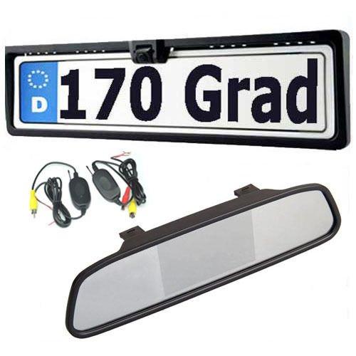 Amzdeal 4.3 pouces LCD Auto rétroviseur+Vision de nuit 170 degrés caméra de recul pour voiture plaque de license recul systeme étanche IP67 transmetteur sans fil