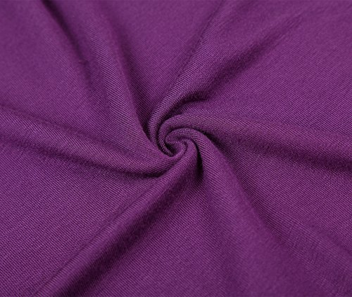 DJT Tee-shirt Casual Ample Extensible Manches Volantee Femme Violet