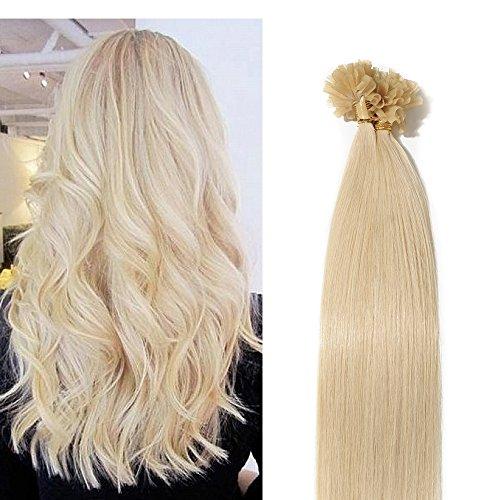 40cm extension capelli veri con cheratina 100 ciocche 50g/pack u-tip allungamento remy human hair, 60# biondo platino