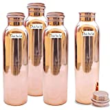 900 ML / 30 oz - Set von 4 - Prisha Indien Craft ® Traveller's 100 % reines Kupfer Wasserflasche oder Thermoskanne für Ayurvedic Health Benefits - Wasserflaschen - Weihnachtsgeschenk