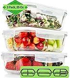 FIT Boîte Alimentaire en Verre à 1 et 2 et 3 compartiments (Lot de 3,1000ML) Boîte à Déjeuner avec Couvercles - Récipient En Verre, Hermétique et anti-fuite, Conteneurs de stockage alimentaire