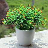 Flikool Creative Artificial Potted Plant Flower Faux Green Grass Fake Bonsai Greenery Simulation Plastic Plant Tree Decoration with Plastic Pot Indoor Outdoor Hanging Planter Wedding Balcony Decor - Orange