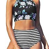SHOBDW Damen Sommer Split Badeanzug Jahrgang Stil Floral Drucken BH mit Streifen Tanga Bikini Set Mittlere Taille Strandkleidung Badebekleidung