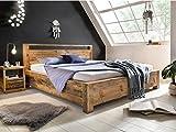 Woodkings Holzbett 180x200 Havelock Doppelbett recycelte Pinie Holz rustikal Schlafzimmer Massivholz Design Ehebett Balkenbett Massive Naturmöbel Echtholzmöbel günstig (Rec. Pinie)