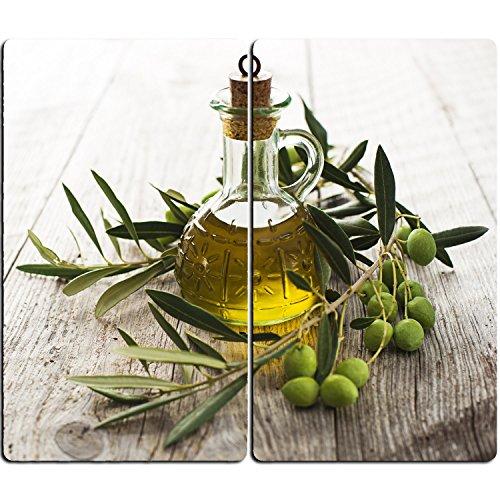 DEKOGLAS Herdabdeckplatten Set inkl. Noppen aus Glas \'Oliven und Öl\', Herd Ceranfeld Abdeckung, 2-teilig universal 2x 52x30 cm