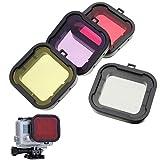 HOOMYA™ 4 Stücke Tauchermaske Objektiv Filter für Gopro Hero 4/3+ SJCAM SJ4000 Standardgehäuse, Roter Gelber Grauer Purpurfarbener Filter – Unterwasserfotografie
