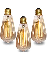 Groeien 40W Dimmable Industrial Pendant Filament Light Bulb with Vintage Antique Design (370 Lumens)-Pack of 3