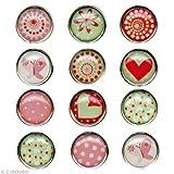 12 Mini Magnets Epoxy - Ø12mm - Coeur et motifs - Graines Créatives