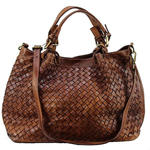 BZNA Bag Rene cognac Lederfarben Italy Designer Damen Handtasche Schultertasche Tasche Schafsleder Shopper Neu