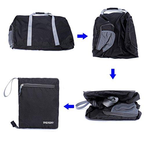 enknight 55L 75L Travel wasserdicht Faltbare Duffle Tasche Gepäck Tasche Sport Gym Bag Schwarz