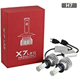 GreenClick 2*H7 LED phares Voiture ,Etanche IP68,80W 7200LM(,Blanc Pur 6000K ,Tout-en-un kit de conversion.(H7)