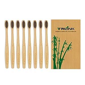 TriLink Bambus Aktivkohle Zahnbürste – 100% Bio, natürliche, biologisch abbaubare und umweltfreundliche Zahnbürste mit extra dünnen weichen BPA-freien Borsten für Erwachsene – 8er Pack