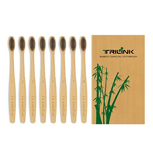 TriLink Bambus Aktivkohle Zahnbürste - 100% Bio, natürliche, biologisch abbaubare und umweltfreundliche Zahnbürste mit extra dünnen weichen BPA-freien Borsten für Erwachsene - 8er Pack Bambu Bio-bambus