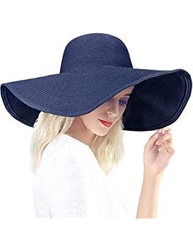 DAFUNNA Sombrero de Paja Ala Ancha Plegable para Mujer Verano Playa Sol Viajes Vacaciones