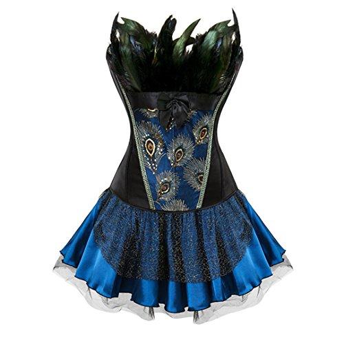 Halloween Feather Lustig Gothic Retro Stil Überbrustkorsett Skinny Skirt Steampunk 2871 Schwarz Blau M