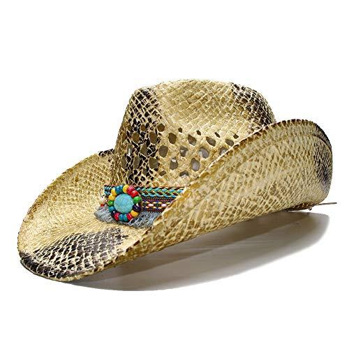 MADONG Frauen Herren Sommer Stroh Strand Sonnenhut Cowboy Western Cowgirl Fedora Hut Hohl Quaste Sombrero Hombre Rettungsschwimmer Hüte (Farbe : 1, Größe : 56-58CM)