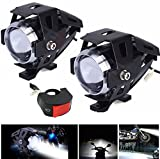 #5: Allextreme Combo Pack Of 2 Cree U5 Fog Light Spotlight, Universal Led Fog Lamp Headlight Waterproof With Switch For Motorcycle/Atv/Truck