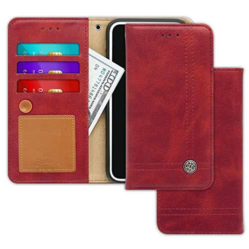 Schutzhülle für Xiaomi Mi 5, mit 9 Geschenken, schlankes Design, Oktopus Ver. Kartenhalter, Geldfächer, Kickständer, Handschlaufe und Nachrichtenblock für Xiaomi Mi5, Burgunderrot