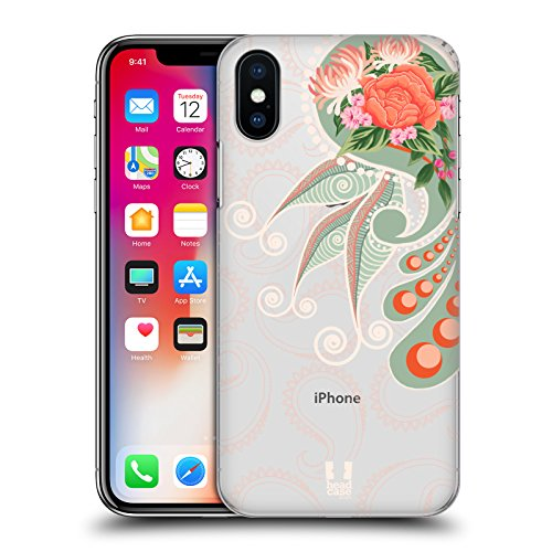 Head Case Designs Marrone Paisley Chic 2 Cover Retro Rigida per Apple iPhone X Arancione
