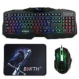 BAKTH unico Premium regolabile Wired Illuminato dell'arcobaleno multimedia LED di gioco USB Keyboard aggiornato nel 2017 e mouse Combos Bundle + personalizzato Grande tappetino per il mouse
