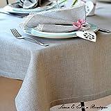 Linen & Cotton Luxus Tischdecke mit Hohlsaum, Natur/Beige - 100% Leinen (143 x 143cm)