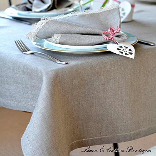 Lusso Linen & Cotton Tovaglia da Tavola In Stoffa Con Orlo A Giorno, Lino Naturale - 100% Lino (143 x 143cm)