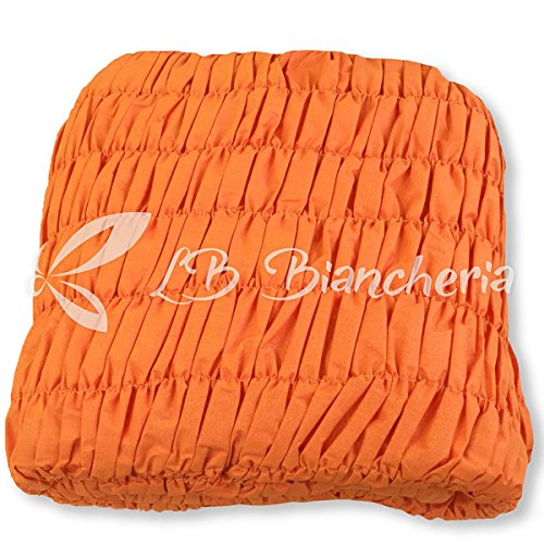 Copridivano universale arricciato - 5 posti - divano angolare - tinta unita melange arancione