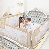 Baybee Bed Rail Guard for Baby Safety-Portable and Foldable Full Bed Rail for Kids (Beige, 150x63 cm)(Pack of 1)