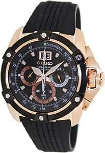 Seiko - SPC074P1 - Quartz - Montre Homme - Quartz Chronographe - Cadran Noir - Bracelet Silicone Noir