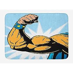 Comics Bath Mat, Superhero Arm Flexing Muscles Powerful Fiction Character Cartoon Graphic Style, Plush Bathroom Decor Mat with Non Slip Backing, 23.6 W X 15.7 W Inches, Marigold Blue