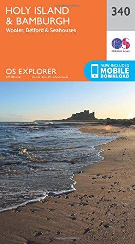 Holy Island and Bamburgh (OS Explorer Active Map, Band 340) 340 Explorer